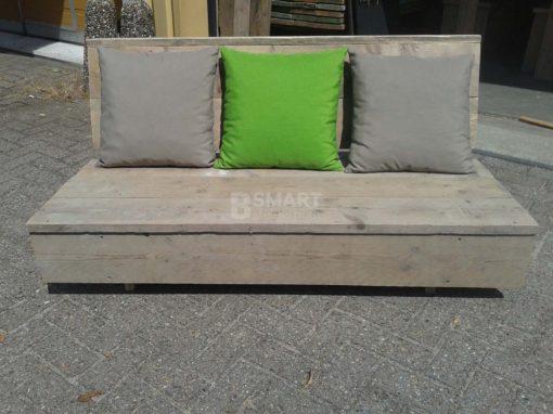 Lage loungebank van steigerhout zonder armleuningen