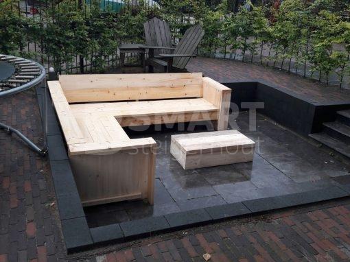 Goedkope steigerhouten loungebank, hoekbank steigerhout nieuw goedkoop
